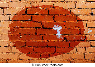 old japanese flag on brick wall background