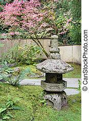 Old Japanese Stone Lantern in Garden