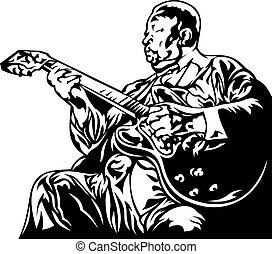 jazz man - old jazz man isolated on the white background