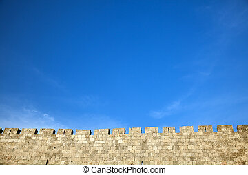 Old Jerusalem City Wall - The surrounding wall of the old...