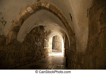 Old Jerusalem Tunnel - A pedestrian arched tunnel in the...