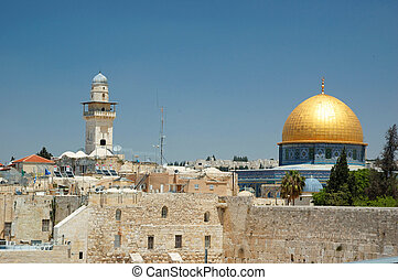 Old Jerusalem view - wailing wall and golden dome of Omar...