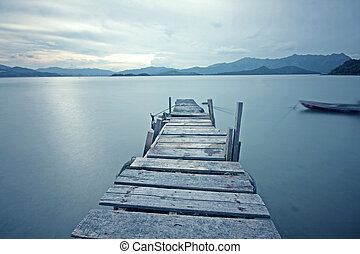 old jetty walkway pier the the lake