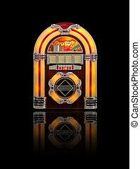 Retro jukebox radio isolated on black background with reflection