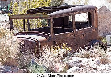 old junk car in the nevada desert in Nelson, Eldorado Canyon