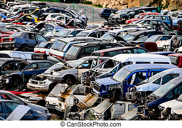 Old Junk Cars On Junkyard - Scrap Yard With Pile Of Crushed ...