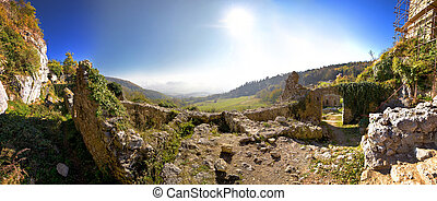 Old Kalnik mountain fortress ruins panoramic view, Prigorje,...