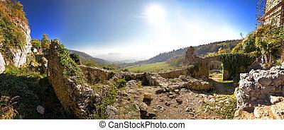 Old Kalnik mountain fortress ruins panoramic view, Prigorje,...