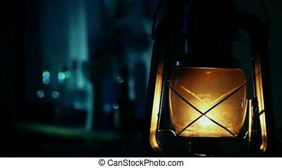 Old kerosene lamp in cottage