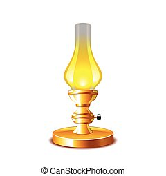 Old kerosene lamp isolated on white vector - Old kerosene...