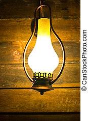 old kerosene lamp on wooden wall