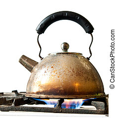 old kettle on a stove isolated on a white background