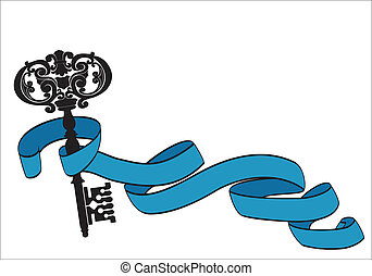 Old key and ribbon - The old key and twisted ribbon make up...