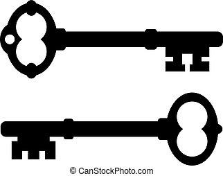Old key icons set