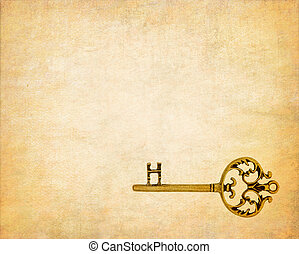 old key on the old textured paper with natural patterns