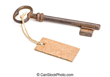 Old key with a tag