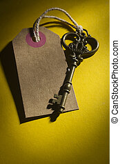 Old key with tag