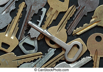Background with close-up of old keys lying on dark