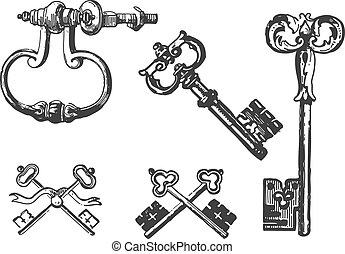 Old Keys - Collection of ancient key engravings