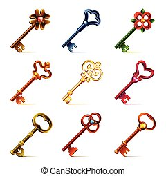 Old keys icons vector set