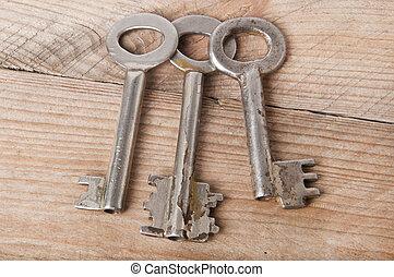 old keys on a wooden background