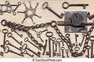 Old keys on wooden board