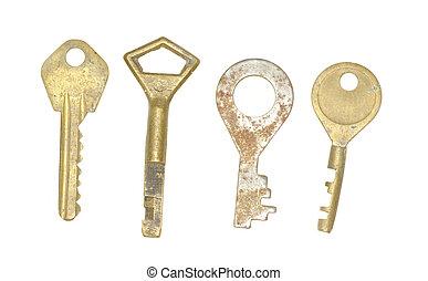 old keys  - Collection old keys on white background