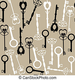 Old keys seamless pattern and seamless pattern in swatch ...