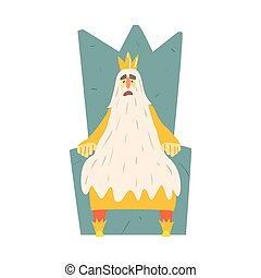 Old King With Very Long Beard Sitting On The Throne Fairy-Tale Cartoon Childish Character