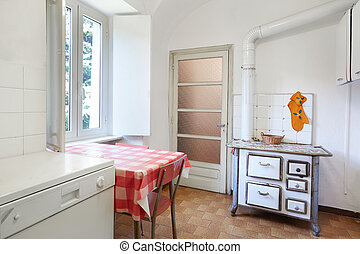 Old kitchen interior with stove