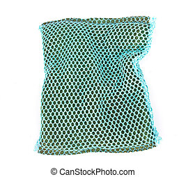 Old kitchen sponge isolated on the white background