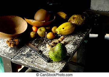 Old kitchen table with fruit