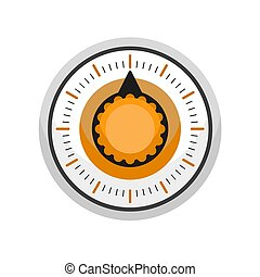 Old kitchen timer icon, flat style