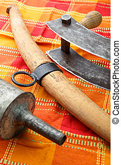 Old kitchen tools for the production of meat products - sausages