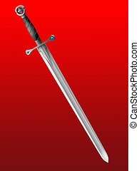 sword - Old knightly sword on a red background