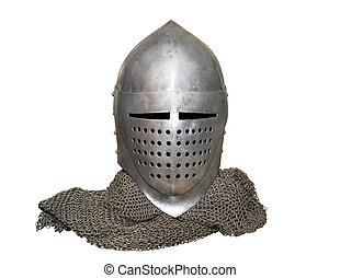 old knight's helmet and chainmail - old knight helmet and...