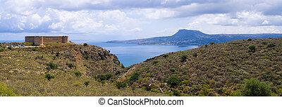 Old Koulos fortess near ancient Aptera ruins, Crete, Greece