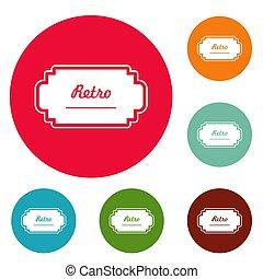 Old label icons circle set