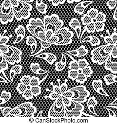 Old lace seamless pattern, ornamental flowers. Vector...