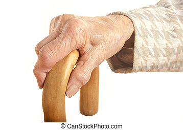 Old Ladies hand with walking stick - My mother at 90 years ...