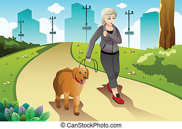Old lady exercising with her dog outdoor