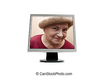 Old lady in monitor