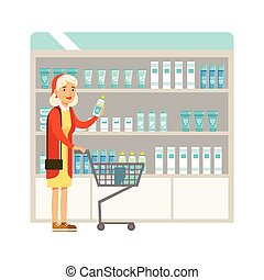 Old Lady In Pharmacy Choosing And Buying Drugs And Cosmetics, Part Of Set Of Drugstore Scenes With Pharmacists And Clients