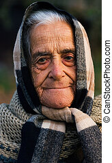 Old lady of Greece - Image shows a portrait of an old proud ...
