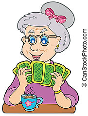 Old lady playing poker - vector illustration.