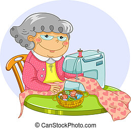 old lady sewing - happy old lady sewing with a sewing...