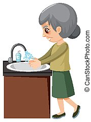 Old lady washing hands