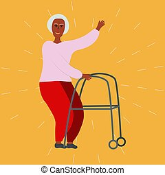 Old lady with a walker.