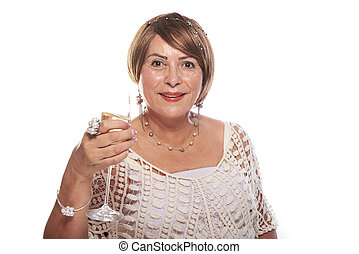old lady with bob hairstyle and a drink