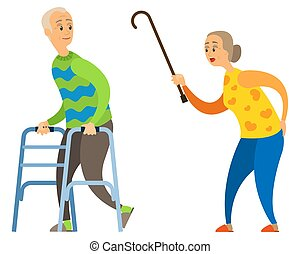 Old Lady with Stick, Angry Woman Yelling at Male